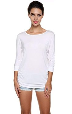 a944c0450cd Meaneor Womens Plus Size Round Neck Tops Dolman Side Shirring With Drape  Top White XXL