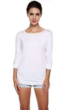 d6c7e1b3762b9 Meaneor Women s 3 4 Sleeve Plus Size Round Neck Drape Tops