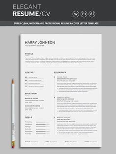 Template / with super clean and look. Clean Resume Template page designs are easy to use and so you can quickly tailor-make your resume for any opportunity and help you to get your job. This Infographic Resume CV Template is made in Photoshop, Illustrator Cv Templates Free Download, Template Cv, Resume Cover Letter Template, Modern Resume Template, Resume Templates, Professional Resume Template, Resume Layout, Resume Cv, Resume Review