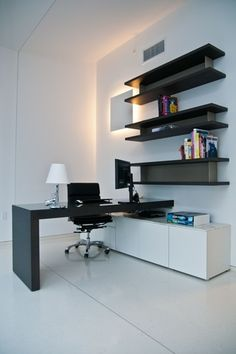 Home Office with Eames aluminum management chair, Ikea Orrberg Display Shelf, In Mod Glare Sideboard, Floating shelves