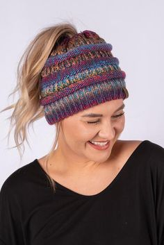 c33151cb319 CC multi color messy bun beanie mustard mix