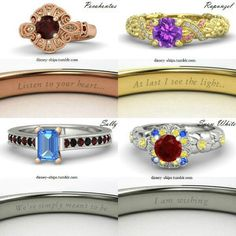 Disney princess rings with their iconic meanings! I love theses!