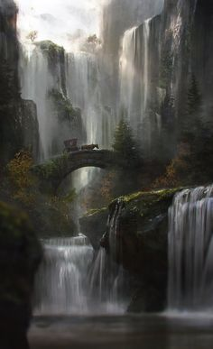 fantasy-art-engine:Waterfall by Jordi Gonzalez Escamilla                                                                                                                                                                                 Más