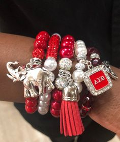 This item is unavailable Delta Sigma Theta Gifts, Sorority Gifts, Delta Girl, Omega Psi Phi, Geek Jewelry, Jewelry Accessories, Red Rhinestone, Rhinestones, Bracelet Set