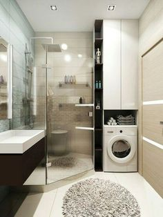✔ 40 small bathroom remodel ideas on a budget 36 - Das Badezimmer - Bathroom Decor Laundry Room Bathroom, Laundry Room Design, Bathroom Design Small, Bathroom Layout, Bathroom Interior Design, Bath Room, Bathroom Ideas, Bathroom Storage, Laundry Rooms