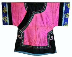 Pink! Antique Chinese Robe Silk Embroidered Ching Embroidery Qing Han 19thc #ChingDynasty