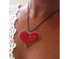 Happy Valentines!  Necklace Polymer Silver Wire framed large heart pendant by PDFPatternDesign, via Flickr