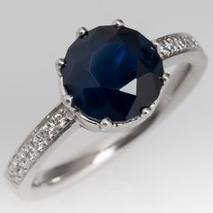 Low Profile Deep Blue Green Sapphire Engagement Ring Platinum Diamond