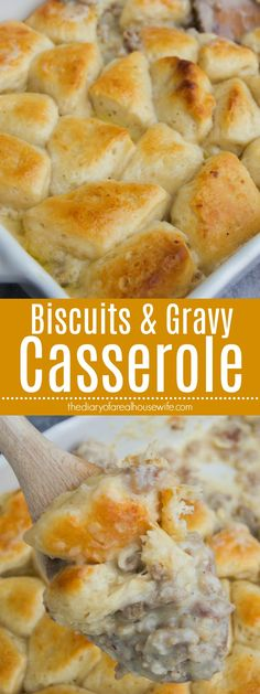 One of my favorite breakfast baked all into a casserole. ThisBiscuits and Gravy Casserole is made with a amazing sausage gravy bottom layer and topped with biscuit pieces and baked.