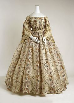 Printed cotton dress, French, ca. 1850.