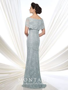 mon cheri bridals 215D03 -     Lace fit and flare gown with short sleeves, wide bateau portrait collar, back covered buttons, lace appliqué placed around back thigh, sweep train.