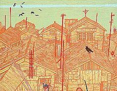 Village on Oceanside by Kitaoka Fumio