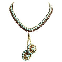 1950s HATTIE CARNEGIE Faux Turquoise Ruby Retro Style Double Ball Drop Necklace 1
