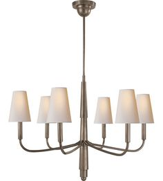 Visual Comfort Thomas OBrien Farlane 6 Light Chandelier in Antique Nickel TOB5018AN-NP #visualcomfort #lightingnewyork #lighting
