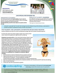 June Monthly Newsletter: Oral Supplements, Sun Protection, and Skin Cancer Prevention