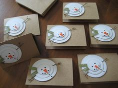 Handmade Christmas Cards, Rustic Snowman, Let it Snow, Set of 8 on Etsy, Sold