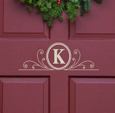 Vinyl Decal Monogram Letter with Scrolls Front Door Decor, mailbox Decals and personalized gifts on Wanelo
