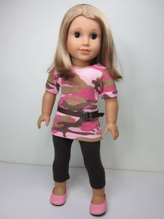 American girl doll clothes 3 pc. Brown leggings and army print tunic TShirt by JazzyDollDuds,