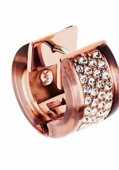 Michael Kors Michael Kors Rose Gold-Tone with Blush Tortoise Accent Crystal Huggie Earrings (boxed)
