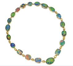 Necklace J.E. Caldwell, 1920 Sotheby's (18 K gold, black opal and diamond) to be sold at Sotheby's) (via OMG That Dress! blog)