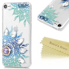 cool iPod Touch 6 Case , iPod Touch 6th Generation Case - Mavis's Diary Luxury 3D Handmade Bling Cover Crystal Diamonds Gems Lovely Blue Totem Flowers with Purple Shiny Sparkling Rhinestone Gems Clear Hard PC Cover