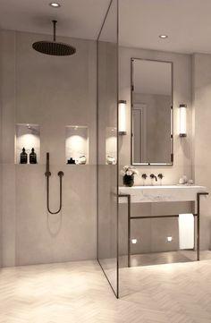 Modern, minimalist bathroom with walk-in shower .- Modernes, minimalistisches Badezimmer mit ebenerdiger Dusche – just luxux Modern, minimalist bathroom with walk-in shower - Bathroom Renos, Bathroom Renovations, Bathroom Ideas, Shower Bathroom, Bathroom Organization, Bathroom Makeovers, Condo Bathroom, Shower Rooms, Remodel Bathroom