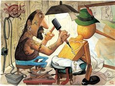 Pinocchio getting inked up. Pinocchio, Trippy, Leviticus 19 28, Illustrations, Illustration Art, Christmas Illustration, Body Painting, Cool Tattoos, Tatoos