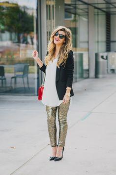 black blazer + gold sequin pants