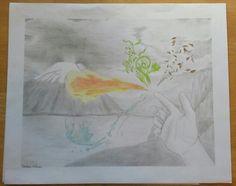 Handscape: pencil and color pencil drawing