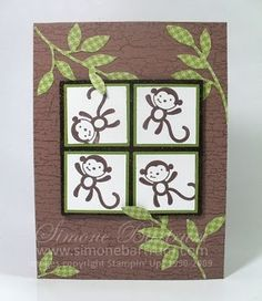 """Adorable monkey card, good site for ideas... Keep an eye out for this stamp set called """"fox & friends"""" - retired su set -jm"""