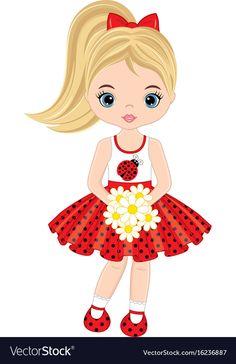 Vector cute little girl with flowers . Vector little girl in polka dot dress. Little girl vector illustration. Cute Cartoon Girl, Cartoon Pics, Cartoon Drawings, Cute Drawings, Little Girl Drawing, Cute Girl Drawing, Princess Illustration, Cute Girl Illustration, Ladybug Girl