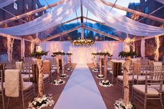 Love the lighting! Love the birch columns! Love the fur throws for guests!
