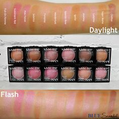 NYX Baked Blush Swatches! Oh so pretty and luminous! Shop at http://bluescandal.com/NYX-Cosmetics-Baked-Blush/