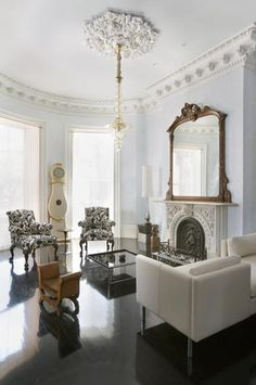 Suzie: Eric Roth Photo - Modern french living room design with ivory cream modern sofa, white & ...