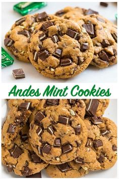 via Easy Andes Mint Cookies. Thick, soft, chewy, and healthy recipe made with whole wheat flour. These treats are one of our absolute favorite Christmas cookies and great for St Patrick's Day too! Köstliche Desserts, Holiday Baking, Christmas Desserts, Christmas Baking, Dessert Recipes, Christmas Cupcakes, Christmas Cookie Recipes, Healthy Christmas Cookies, Christmas Candy