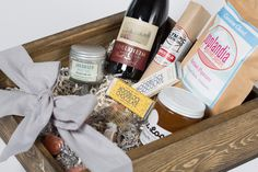Broadway Gift Box: Your favorite Portland brands all rolled into one beautiful box. The Broadway box is a perfect welcome to the city gift!   **Contents** Bee Local Honey, Local Beer/Wine, Jacobsen Salt, Quin Dreams Come Chew Candy, Olympia Provision Pepperette, Poplandia Popcorn, Jacobsen Caramels  This makes a great gift for any occasion! Beer or wine? It is your choice! http://locallysourcednw.com/products/broadway