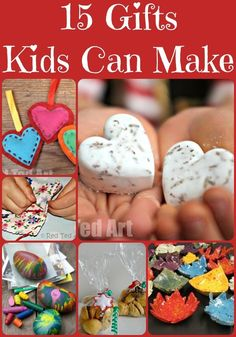 "We love homemade gifts.. and I encourage the kids  to ""make their own"" rather than buy buy buy. Here are 15 Christmas Gift Ideas for Kids To Make"