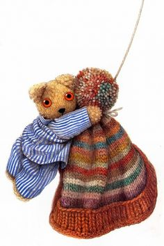 Little Old Bear - Love the cap for knitting inspiration, orange turned up brim, soft colored stripes on cap body, multi colored pom at top Orson Scott Card, Toy Puppies, Children's Book Illustration, Kids Cards, Childhood Memories, Childrens Books, Illustrators, Album, Knitting