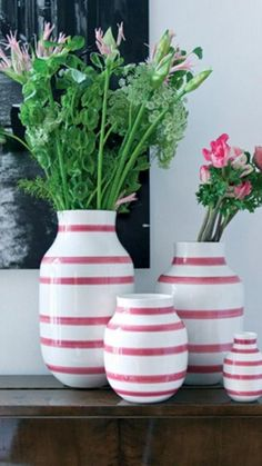 Striped Vases by Kähler, red and white
