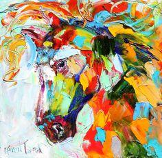 Original oil painting Equine Wild Horse Palette by Karensfineart