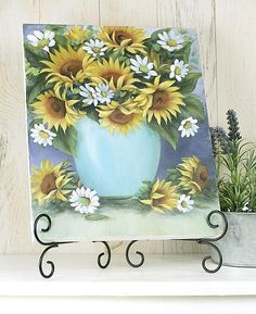 Floral Delight Canvas -- Fill a canvas with flowers.  #decoartprojects