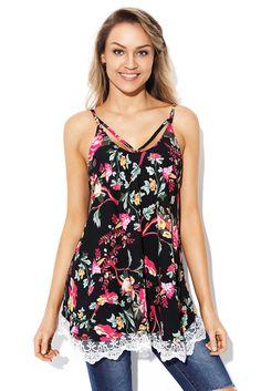 e881622069b cali-chic-juniors-top-celebrity-lace-hem-black-floral-strappy-cami-top