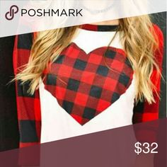 Red Plaid Valentines Top!  Heart! New!  Size small!  Excellent shape 92% polyester 8% spandex. Tops Tees - Long Sleeve