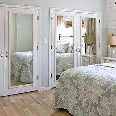 Adding mirror panels to built-in cupboard or closet doors completely transforms any room and is especially helpful in a small bedroom as it visually enlarges the space.