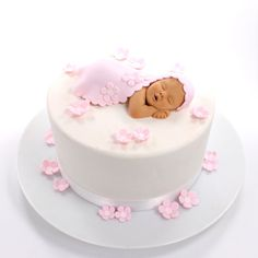 Baby Shower Cake Baby Cake Topper with Blanket, Pink Flowers & Purple Butterflies Sugar Paste for… Torta Baby Shower, Tortas Baby Shower Niña, Baby Shower Cupcakes, Baby Shower Cake For Girls, Baby Shower Cake Toppers, Easy Baby Shower Cakes, Shower Baby, Baby Girl Cakes, Baby Birthday Cakes