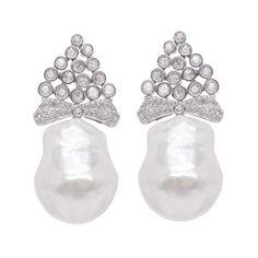 22005 - Brilliant 0,41Ct RC 0,81t - Pearl 17,80mm South Sea Pearls, Baroque Pearls, Pearl Earrings, Jewelry, Pearl Studs, Jewlery, Bijoux, Bead Earrings, Jewerly