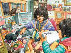 Japanese Illustration, Creative Illustration, Digital Illustration, Feet Drawing, Colorful Drawings, Art Drawings, Illusion Art, Nature Paintings, Character Design References