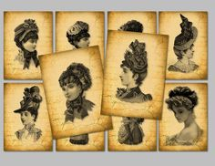 Victorian Ladies printable backgrounds/tags available at grannygator.etsy.com