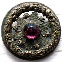 'Gay Nineties Jeweled Victorian OpenWork Brass button'