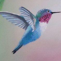 Custom Made Bird Painting: Blue Hummingbird Flying Near Pink Hibiscus